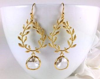 ON SALE Gold Chandelier Earrings Glass Drop Crystal Teardrop Dangle Earrings Laurel Branch Gold Leaf Earring Crystal Wedding Jewelry Bridesm