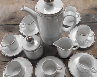 Complete 1930's Coffee Set. Coffee Pot, Sugar Bowl, Milk Jug & Eight Cups and Saucers. Design by 'Winterling Schwarzenbach Bavaria Germany'