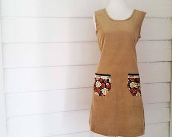 Women's Winter Dress Corduroy Dress Tunic Dress Shift Made to Order Dress Cowl Neck Dress Pocket Dress Caramel Australian Made Dress