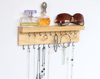 """Pine Wood Wall Jewelry Organizer with shelve 12"""" Long / Necklace Handmade Holder Hooks Key Holder Hanging Stand Rustic Decor / Best gift ide"""