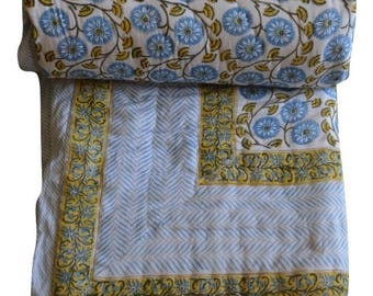 Indian Hand Block Printed/Hand Quilted/Handmade Cotton Queen size Quilt 225X274 Cm