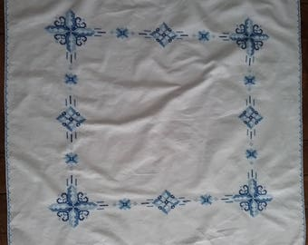 Square Tablecloth with hand-made Blue Cross-Stitch Design