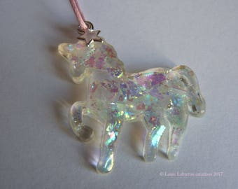 Pendant Crystal-accessory-girl/toddler Unicorn - glitter