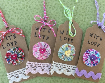 Present tag etsy set of 4 handmade liberty tana lawn gift tags present tags for birthday or mothers negle Choice Image
