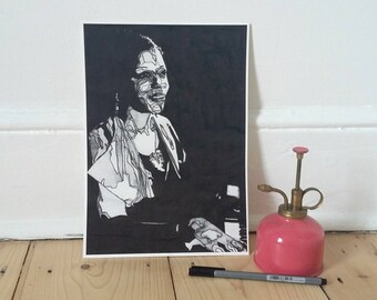 Portrait 'Mary Lou Williams' Great Jazz Pianist and Composer by artist Jorine Beck, Giclee print A4, signed