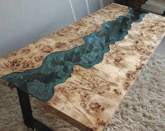 SOLD Live edge Mappa Burl river coffee table SOLD