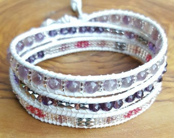 White leather 3 wrap bracelet turns purple and silver