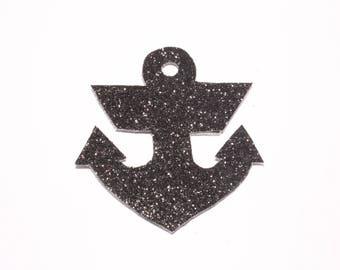 Anchor brooch black glitter