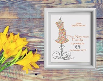 Pregnancy Announcement, Printed Artwork, Personalized Print, Our Family Is Growing By Two Feet, Baby Announcement, Personalized Pregnancy