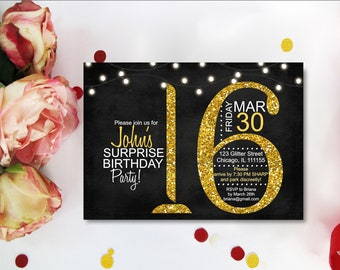 Gold Glitter Confetti Sweet 16 Invitations, Sweet 16 Invitations ,  Gold & Black background  20th 21st Birthday Party Printable Digital