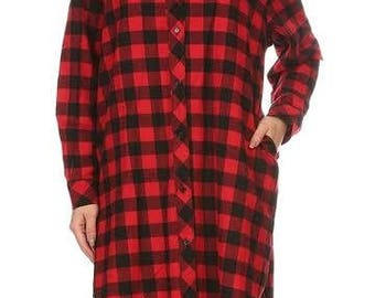 Ladies Checkered Shirt Womens Flannel Shirts - Red and Black Womens Plaid Shirts Long