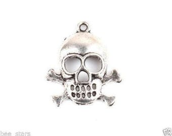 set of 5 Silver skull charm 26 x 22 mm