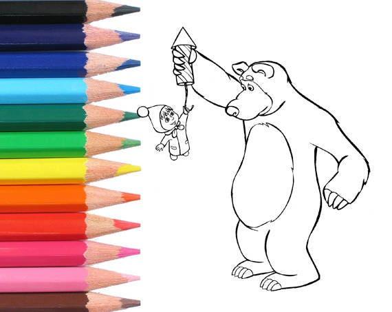 Masha Y El Oso Para Colorear Colorear Páginas Página