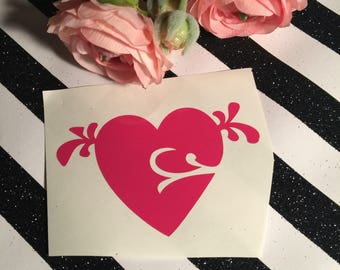 Flourish And Swirl Heart With Wings , Heart Decal , I Love You Gift , Heart Transplant Gift , Thank You , Gift For Daughter , Yeti Decal
