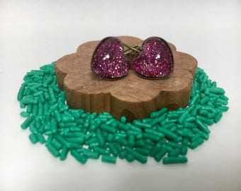 Magenta Heart Shaped Sparkle Glitter Stud/Post Earrings