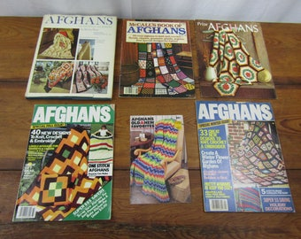 Lot of six vintage AFGHAN books and magazines