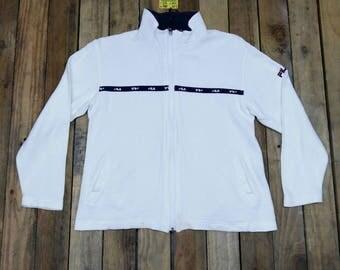 Vintage FILA Jacket Sweater Medium Women White 90's Fila Biella Italia Fila Sportswear Streetwear Jacket Zipper Cotton Size M