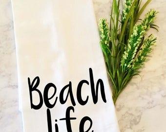 Tea Towel, Dish Towel, Beach Life, Dish Cloth, Tea Towel,  Hand Towels, Flour Sack Dish Cloth