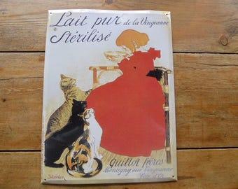 Vintage Tin Advert Metal Publicity Sign, Embossed Advertising Panel, Lait Pur Sterilisé, 0917001-248