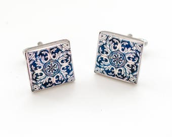 Cuff links with Portuguese Tiles: Azulejos