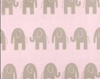 Elephant Fabric Home Decor Weight Cotton Fabric - Pink / Gray Natural Duck Cloth Cotton Fabric - Pink Elephant Fabric - Gray Elephant Fabric
