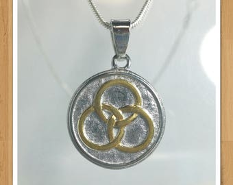 TRINITY BORROMEAN RINGS necklace two tone gold and silver