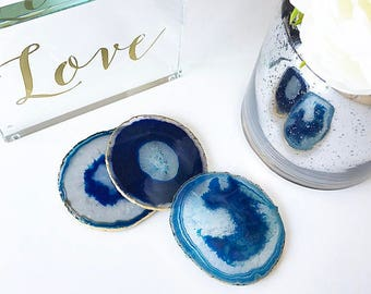 Blue agate coasters. Boho decor agate slice handmade with gold leaf edging. Bohemian home decoration. Price per coaster