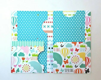 Ready to Ship: Sunny Spring Midori/Fauxdori/Traveler's with 6 Pockets Folder Style PF612 (Fits Pocket Field Note Size)