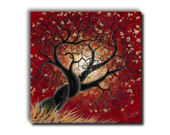 Small Giclée - Canvas Print - Tree - Landscape - Red - Metal Leaf Flake - Acrylic Painting - Contemporary Art - by Jasmine Star