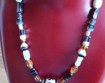 hand made, one-off, glass necklace with hand made and painted pendant bead