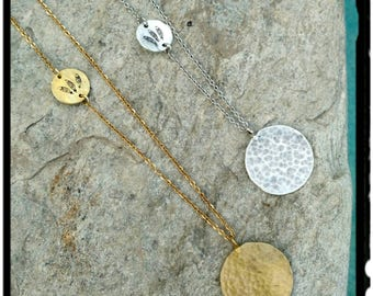 Hammered Circles - Long Gold or Silver Round Hammered Pendant Necklace//Layering Necklace - Stamped Feather Charm//Stainless Steel Chain -