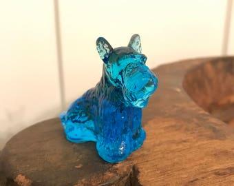 "Vintage Boyd Glass ""Duke"" Blue Scottie Dog Miniature Figurine"