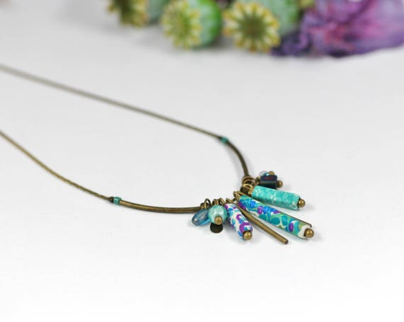 Teal necklace boho necklace with tassels and long beads, handmade patterned, on brass
