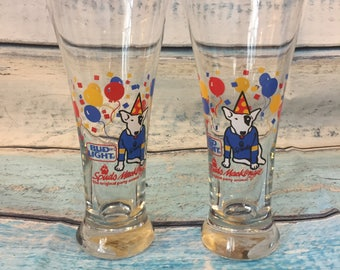1987 Bud Light Spuds Mackenzie Glasses, Beer Glasses, Set of 2, Anheuser Busch, Libbey Glasses, Barware, Drinkware, Original Party Animal