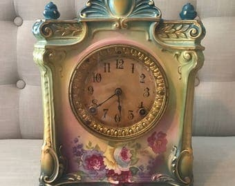"Beautiful Ansonia Royal Bonn""La Seine"" Porcelain Mantle Clock 1915"