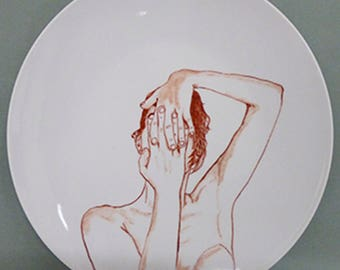Hand painted porcelain collection plate  - portrait Red