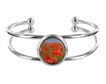 Poppy Fields Silver Plated Bangle in Organza Gift Bag