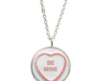 Love Heart Be Mine Pendant and Silver Plated Necklace