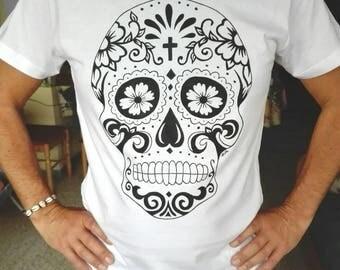 Mexican Skull t-shirt, skull t-shirt, Mexico, day of the dead, punk tshirts, hand painted shirts, 100% cotton t shirt, custom tshirts