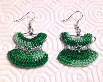 Earrings with green mini dresses on crochet hanger