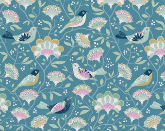 Tilda Fabric Harvest Bird Tree Blue TD481609
