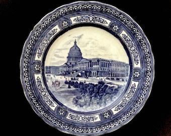 Vintage Royal Doulton, England, Cobalt Blue Cabinet Plate, U.S. Capitol, Washington, D.C. George H. Bowman Importer