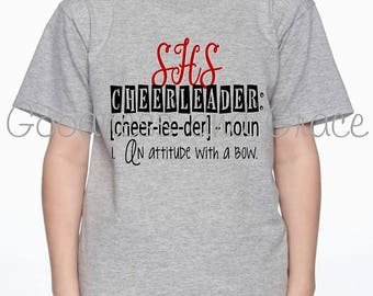 Cheer Tee - Definition of Cheerleader:  An Attitude with a Bow - Personalized with School Name - Add Mascot or Cheerleader's Name to Back
