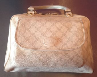 Bally of Switzerland 1980's vintage off white monogrammed top handle handbag