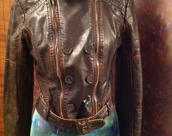 Faux leather rocker biker cropped jacket brown distressed jacket