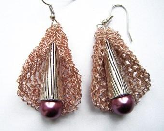 """Crocheted copper wire Earring """"metal flower"""""""