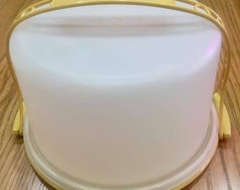 Vintage Harvest Gold Tupperware Pie / Cake Carrier