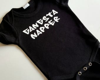 GANGSTA NAPPER  - funny onesie or toddler tee, sizes NB to 4T onesies and t-shirts!  4 color choices - gangster
