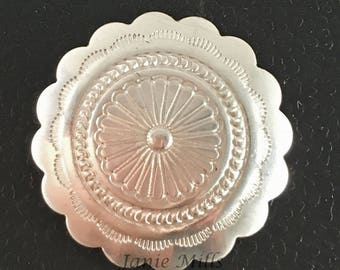 Sterling Concho  round stamped Scalloped  20mm