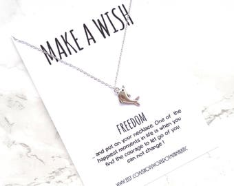 Freedom minimalist necklace, dolphin necklace, dainty delicate silver necklace, simple everyday necklace, make a wish necklace, wish jewels